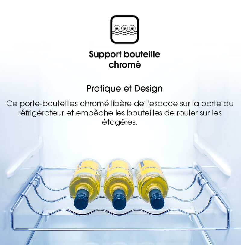 Pratique et design. Ce porte-bouteilles chromé libère de l'espace sur la porte du réfrigérateur et empêche les bouteilles de rouler sur les étagères.