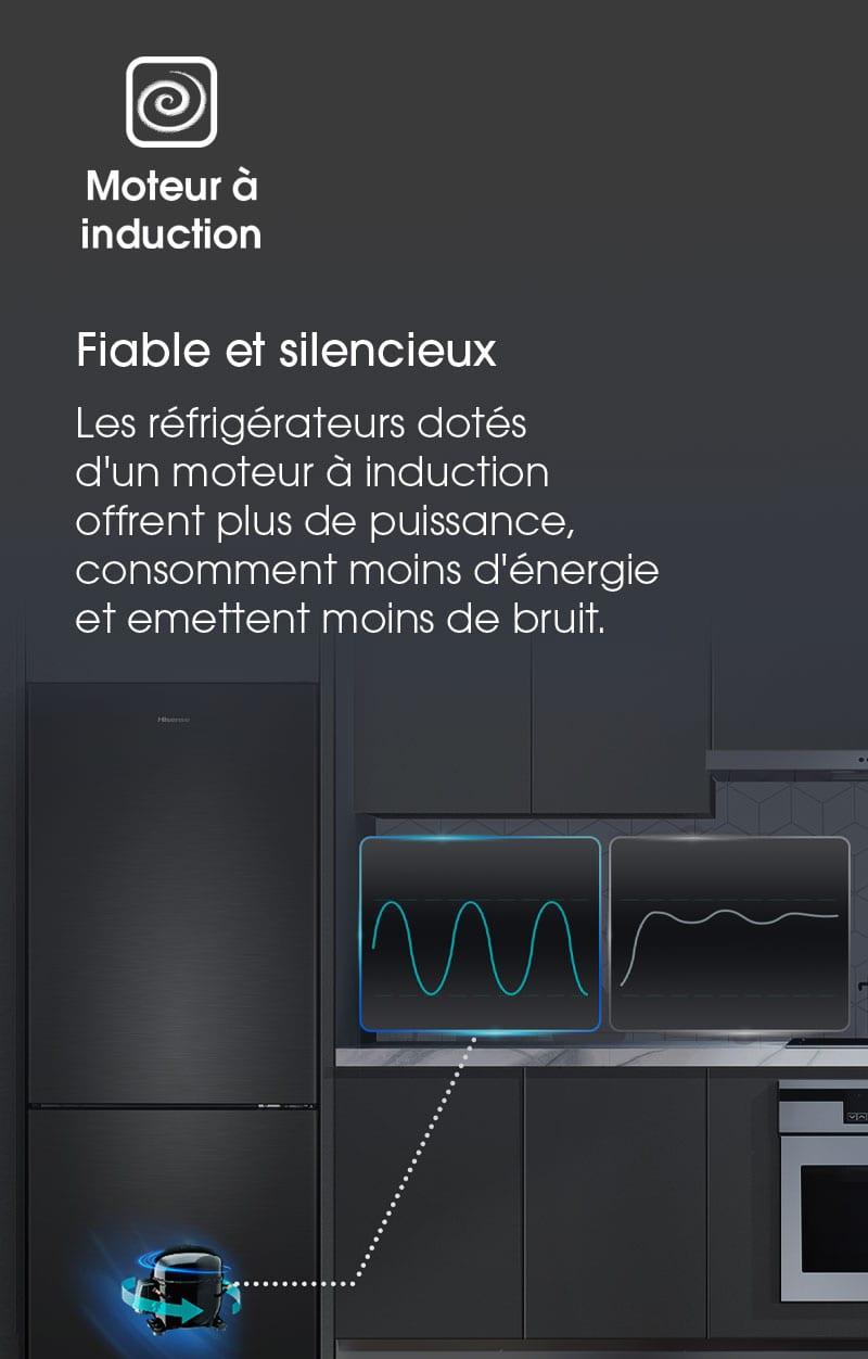 Fiable et silencieux ! Les réfrigérateurs dotés  d'un moteur à induction  offrent plus de puissance,  consomment moins d'énergie et emettent moins de bruit.