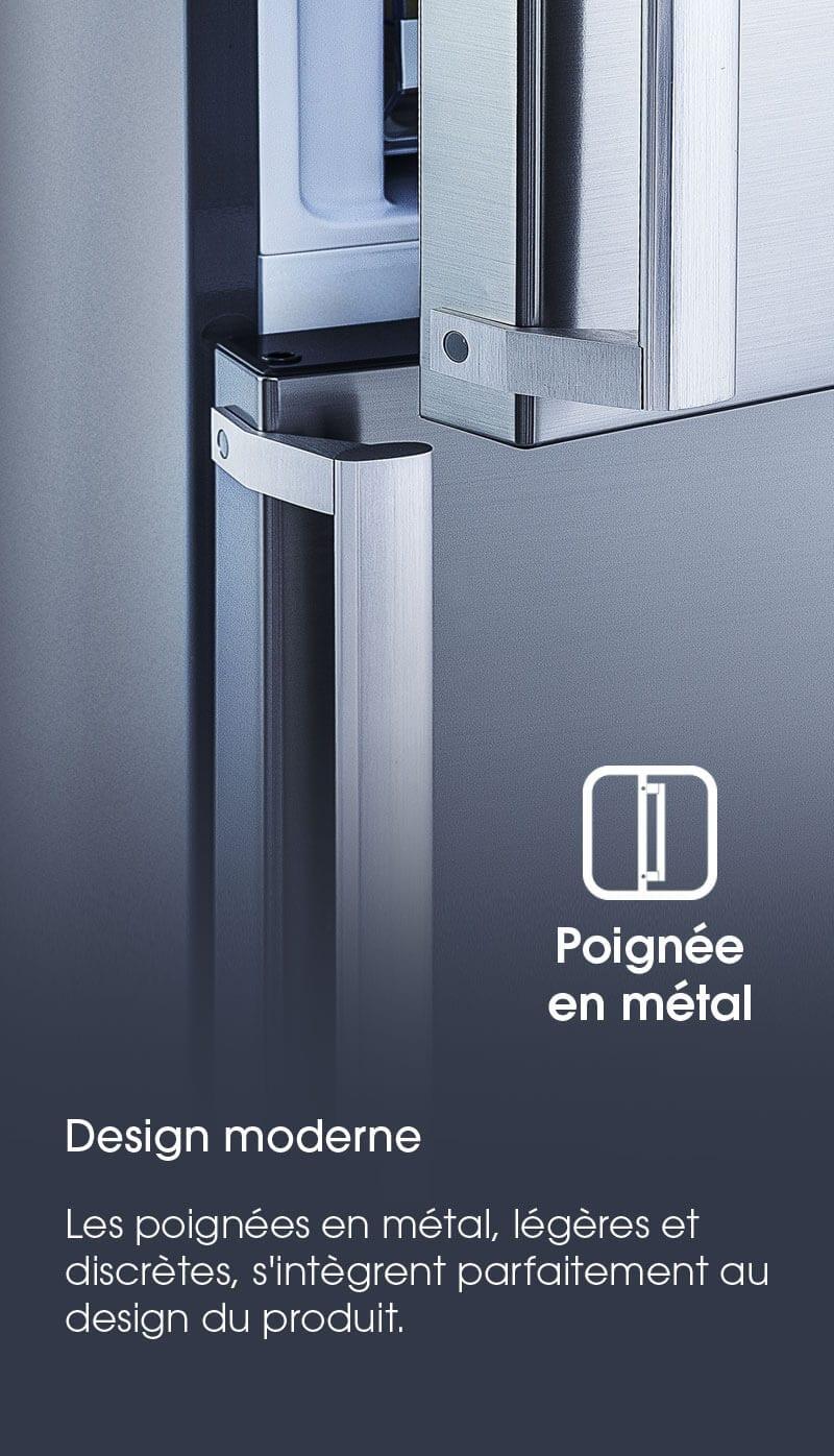 Ouverture 90° sans débord.Accédez pleinement au contenu des tiroirs même lorsque que votre réfrigérateur est placé contre un mur ou une porte.